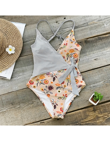 """Womens One Piece Body Suit  ,,Floral And Striped"""""""