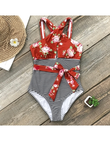 """Womens One Piece Body Suit  ,,Stripe Belted """""""