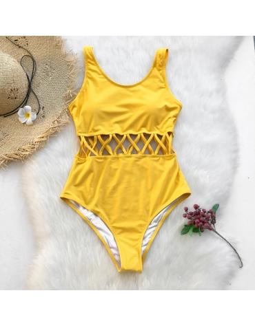 """Moteriškas Vientisas Maudymosi Kostiumėlis ,,Yellow Garden"""""""